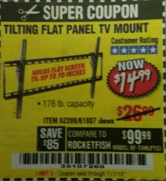 Harbor Freight Coupon TILTING FLAT PANEL TV MOUNT Lot No. 62289/61807 Expired: 11/1/18 - $14.99