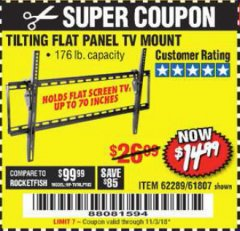 Harbor Freight Coupon TILTING FLAT PANEL TV MOUNT Lot No. 62289/61807 Expired: 11/3/18 - $14.99