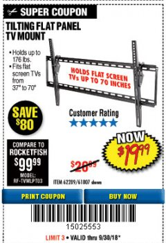 Harbor Freight Coupon TILTING FLAT PANEL TV MOUNT Lot No. 62289/61807 Expired: 9/30/18 - $19.99