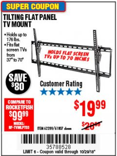 Harbor Freight Coupon TILTING FLAT PANEL TV MOUNT Lot No. 62289/61807 Expired: 10/29/18 - $19.99