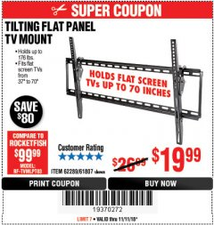Harbor Freight Coupon TILTING FLAT PANEL TV MOUNT Lot No. 62289/61807 Expired: 11/11/18 - $19.99