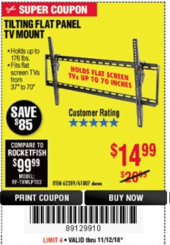 Harbor Freight Coupon TILTING FLAT PANEL TV MOUNT Lot No. 62289/61807 Expired: 11/18/18 - $14.99