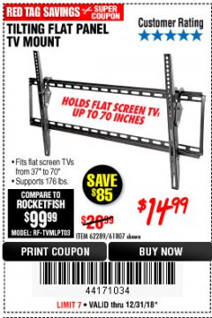 Harbor Freight Coupon TILTING FLAT PANEL TV MOUNT Lot No. 62289/61807 Expired: 12/31/18 - $14.99