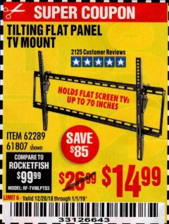 Harbor Freight Coupon TILTING FLAT PANEL TV MOUNT Lot No. 62289/61807 Expired: 1/1/19 - $14.99
