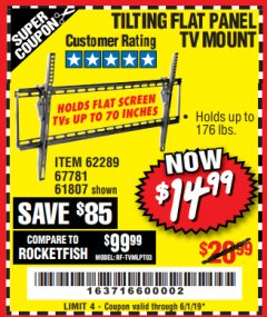 Harbor Freight Coupon TILTING FLAT PANEL TV MOUNT Lot No. 62289/61807 Expired: 6/1/19 - $14.99