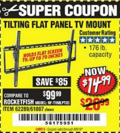 Harbor Freight Coupon TILTING FLAT PANEL TV MOUNT Lot No. 62289/61807 Expired: 8/5/19 - $14.99