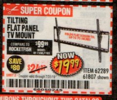 Harbor Freight Coupon TILTING FLAT PANEL TV MOUNT Lot No. 62289/61807 Expired: 7/31/19 - $19.99