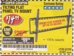 Harbor Freight Coupon TILTING FLAT PANEL TV MOUNT Lot No. 62289/61807 Expired: 10/9/19 - $14.99