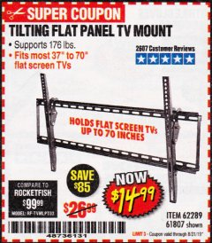 Harbor Freight Coupon TILTING FLAT PANEL TV MOUNT Lot No. 62289/61807 Expired: 8/31/19 - $14.99