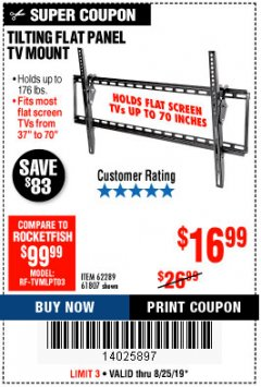 Harbor Freight Coupon TILTING FLAT PANEL TV MOUNT Lot No. 62289/61807 Expired: 8/25/19 - $16.99