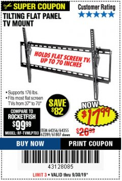 Harbor Freight Coupon TILTING FLAT PANEL TV MOUNT Lot No. 62289/61807 Expired: 9/30/19 - $17.99