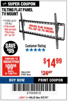Harbor Freight Coupon TILTING FLAT PANEL TV MOUNT Lot No. 62289/61807 Expired: 9/2/19 - $14.99