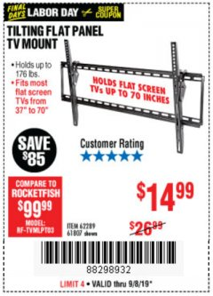 Harbor Freight Coupon TILTING FLAT PANEL TV MOUNT Lot No. 62289/61807 Expired: 9/8/19 - $14.99