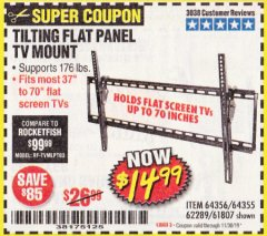Harbor Freight Coupon TILTING FLAT PANEL TV MOUNT Lot No. 62289/61807 Expired: 11/30/19 - $14.99