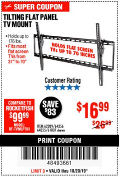 Harbor Freight Coupon TILTING FLAT PANEL TV MOUNT Lot No. 62289/61807 Expired: 10/20/19 - $16.99