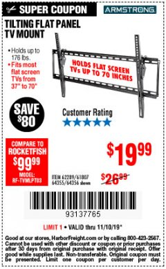 Harbor Freight Coupon TILTING FLAT PANEL TV MOUNT Lot No. 62289/61807 Expired: 11/10/19 - $19.99