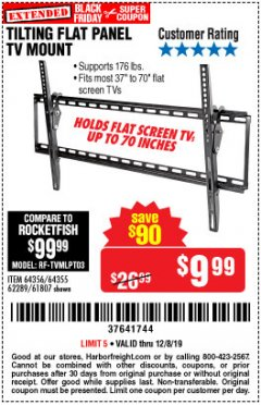 Harbor Freight Coupon TILTING FLAT PANEL TV MOUNT Lot No. 62289/61807 Expired: 12/8/19 - $9.99