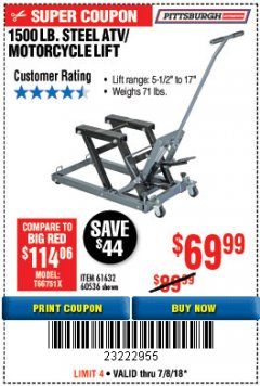 Harbor Freight Coupon 1500 LB. CAPACITY ATV/MOTORCYCLE LIFT Lot No. 2792/69995/60536/61632 Expired: 7/8/18 - $69.99