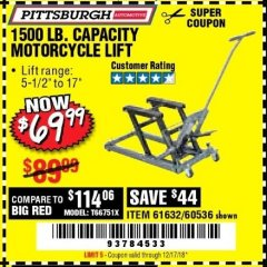 Harbor Freight Coupon 1500 LB. CAPACITY ATV/MOTORCYCLE LIFT Lot No. 2792/69995/60536/61632 Expired: 12/17/18 - $69.99