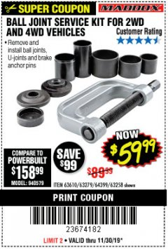 Harbor Freight Coupon BALL JOINT SERVICE KIT FOR 2WD AND 4WD VEHICLES Lot No. 64399/63279/63258/63610 Expired: 11/30/19 - $59.99