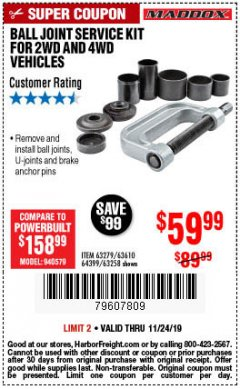 Harbor Freight Coupon BALL JOINT SERVICE KIT FOR 2WD AND 4WD VEHICLES Lot No. 64399/63279/63258/63610 Expired: 11/24/19 - $59.99