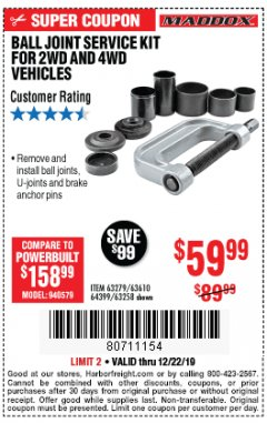Harbor Freight Coupon BALL JOINT SERVICE KIT FOR 2WD AND 4WD VEHICLES Lot No. 64399/63279/63258/63610 Expired: 12/22/19 - $59.99
