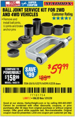 Harbor Freight Coupon BALL JOINT SERVICE KIT FOR 2WD AND 4WD VEHICLES Lot No. 64399/63279/63258/63610 Expired: 1/31/20 - $59.99