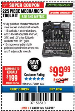 Harbor Freight Coupon 225 PIECE MECHANIC'S TOOL SET Lot No. 62664 Expired: 6/24/18 - $99.99