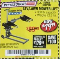 Harbor Freight Coupon HIGH LIFT RIDING LAWN MOWER/ATV LIFT Lot No. 61523/60395/62325/62493 Valid Thru: 9/5/18 - $79.99