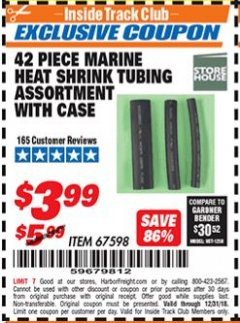 Harbor Freight ITC Coupon 42 PIECE MARINE HEAT SHRINK TUBING ASSORMENT WITH CASE Lot No. 67598 Expired: 12/31/18 - $3.99