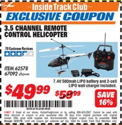 Harbor Freight ITC Coupon 3.5 CHANNEL REMOTE CONTROLLED HELICOPTER Lot No. 62578/67092 Expired: 12/31/18 - $49.99