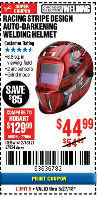Harbor Freight Coupon AUTO-DARKENING WELDING HELMET WITH RACING STRIPE DESIGN Lot No. 67854/61612 Expired: 5/27/18 - $44.99