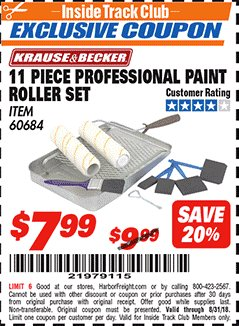 Harbor Freight ITC Coupon 11 PIECE PROFESSIONAL PAINT ROLLER SET Lot No. 60684 Expired: 8/31/18 - $7.99