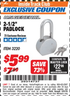 "Harbor Freight ITC Coupon 2-12"" PADLOCK Lot No. 3220 Expired: 3/31/19 - $5.99"