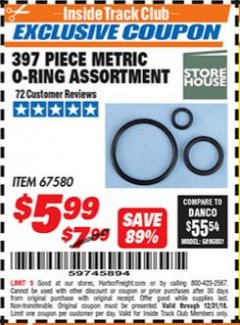 Harbor Freight ITC Coupon 397 PIECE METRIC O-RING ASSORTMENT Lot No. 67580 Expired: 12/31/18 - $5.99