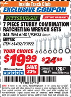 Harbor Freight ITC Coupon 7 PIECE STUBBY RATCHETING COMBINATION WRENCH SETS Lot No. 61401/93923/93922/61402 Dates Valid: 12/31/69 - 2/28/19 - $19.99
