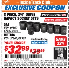 "Harbor Freight ITC Coupon 8 PIECE 3/4"" DRIVE IMPACT SOCKET SETS Lot No. 69509/67960/67965/69519 Expired: 10/31/18 - $32.99"