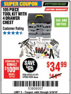 Harbor Freight Coupon 105 PIECE TOOL KIT WITH 4-DRAWER CHEST Lot No. 4030/69323/69380/61591 EXPIRES: 6/18/18 - $34.99
