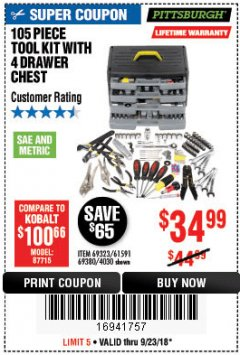 Harbor Freight Coupon 105 PIECE TOOL KIT WITH 4-DRAWER CHEST Lot No. 4030/69323/69380/61591 Expired: 9/23/18 - $34.99