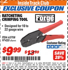 Harbor Freight ITC Coupon RATCHETING CRIMPING TOOL Lot No. 97420 Expired: 9/30/18 - $9.99