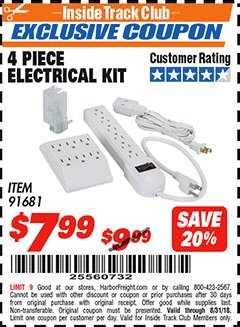 Harbor Freight ITC Coupon 4 PIECE ELECTRICAL KIT Lot No. 91681 Expired: 8/31/18 - $7.99