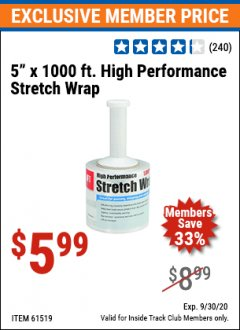 "Harbor Freight ITC Coupon 5"" X 1000 FT. HIGH PERFORMANCE STRETCH WRAP Lot No. 61519 Expired: 9/30/20 - $5.99"