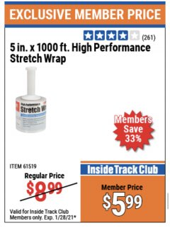 "Harbor Freight ITC Coupon 5"" X 1000 FT. HIGH PERFORMANCE STRETCH WRAP Lot No. 61519 Valid Thru: 1/28/21 - $5.99"