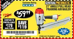 Harbor Freight Coupon 21 DEG ANGLE FULL HEAD FRAMING AIR NAILER Lot No. 69927/63175 Valid Thru: 6/2/18 - $59.99