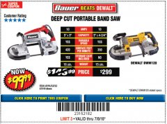 Harbor Freight Coupon BAUER 10 AMP DEEP CUT VARIABLE SPEED BAND SAW KIT Lot No. 63763/64194/63444 Expired: 7/8/18 - $99.99