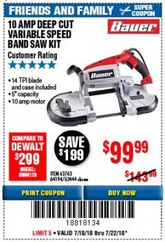 Harbor Freight Coupon BAUER 10 AMP DEEP CUT VARIABLE SPEED BAND SAW KIT Lot No. 63763/64194/63444 Expired: 7/22/18 - $99.99