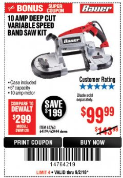 Harbor Freight Coupon BAUER 10 AMP DEEP CUT VARIABLE SPEED BAND SAW KIT Lot No. 63763/64194/63444 Expired: 9/2/18 - $99.99