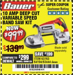 Harbor Freight Coupon BAUER 10 AMP DEEP CUT VARIABLE SPEED BAND SAW KIT Lot No. 63763/64194/63444 Expired: 5/18/19 - $99.99