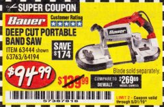 Harbor Freight Coupon BAUER 10 AMP DEEP CUT VARIABLE SPEED BAND SAW KIT Lot No. 63763/64194/63444 Expired: 5/31/19 - $94.99