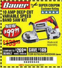 Harbor Freight Coupon BAUER 10 AMP DEEP CUT VARIABLE SPEED BAND SAW KIT Lot No. 63763/64194/63444 Expired: 8/5/19 - $99.99